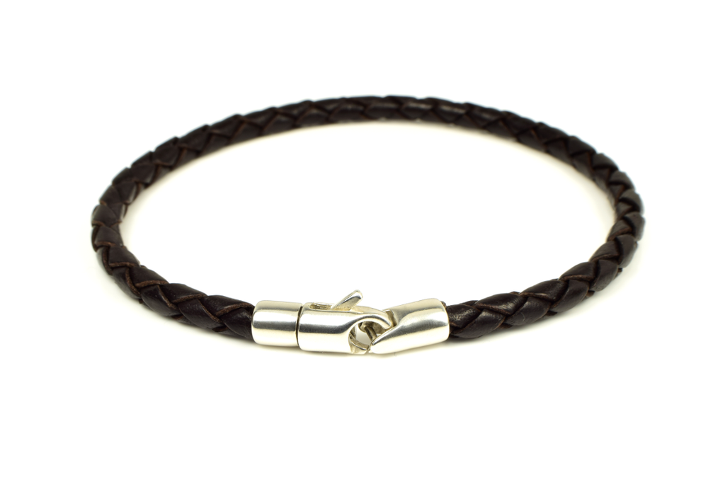 Braided Leather Bracelet with Sterling Silver Clasp - Anny Gabriella NY