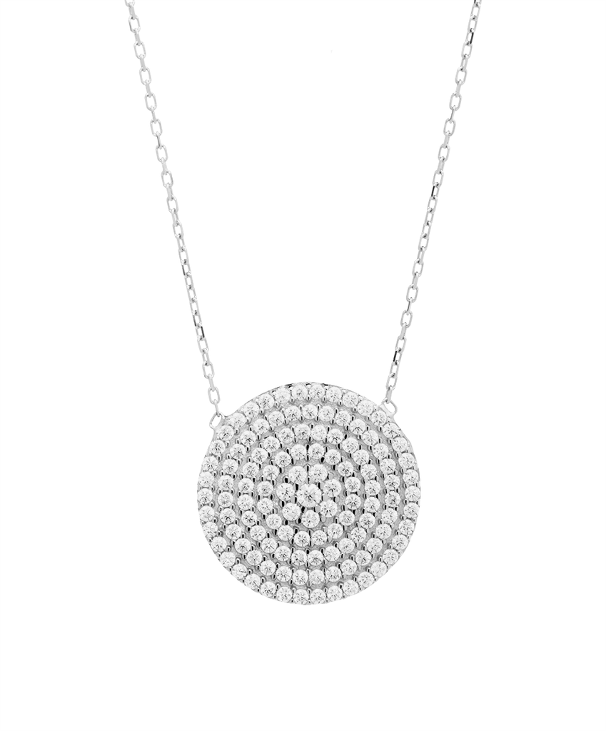 Disc Shape Pendant Necklace with CZ Stones in Sterling Silver