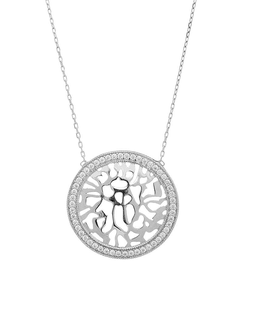 Shema Yisrael Pendant Necklace with CZ Stones in Sterling Silver