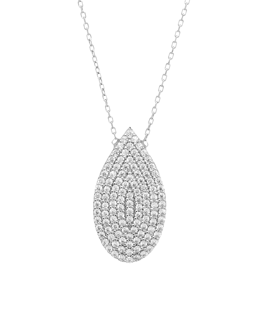 Teardrop Shape Pendant Necklace with CZ Stones in Sterling Silver