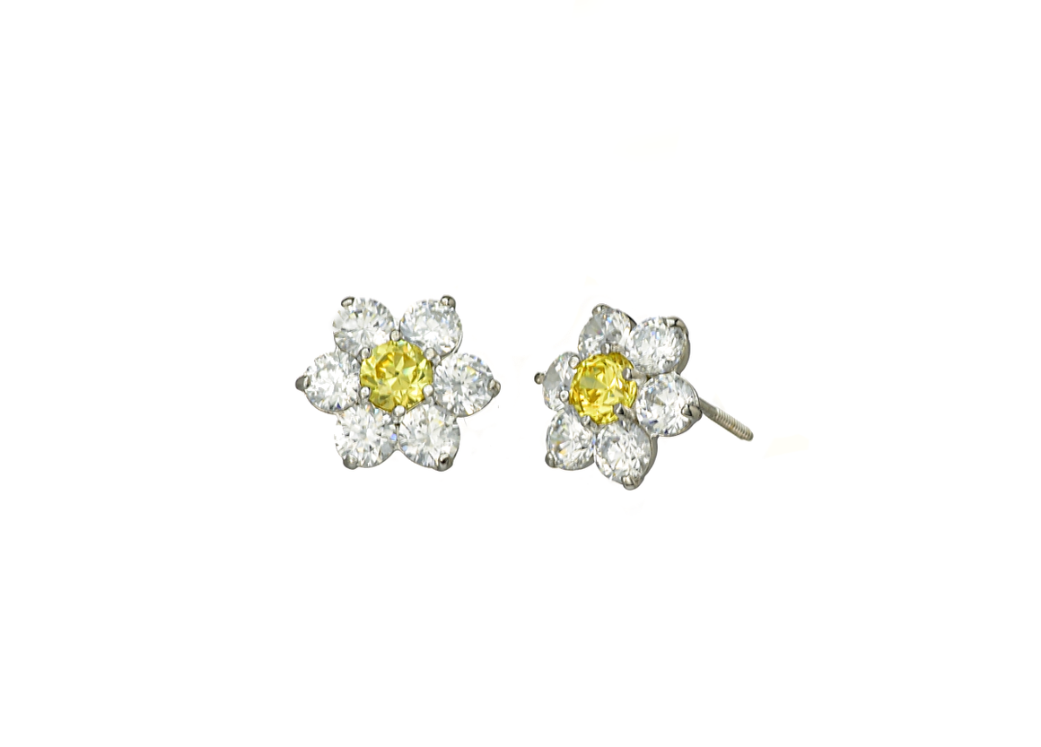 14K White Gold Flower CZ Stones November Birthstone Cluster Earrings - Anny Gabriella NY