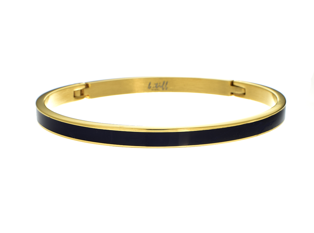 Bangle Bracelet With Black Enamel Inset by B.Tiff Gold Plated - Anny Gabriella NY