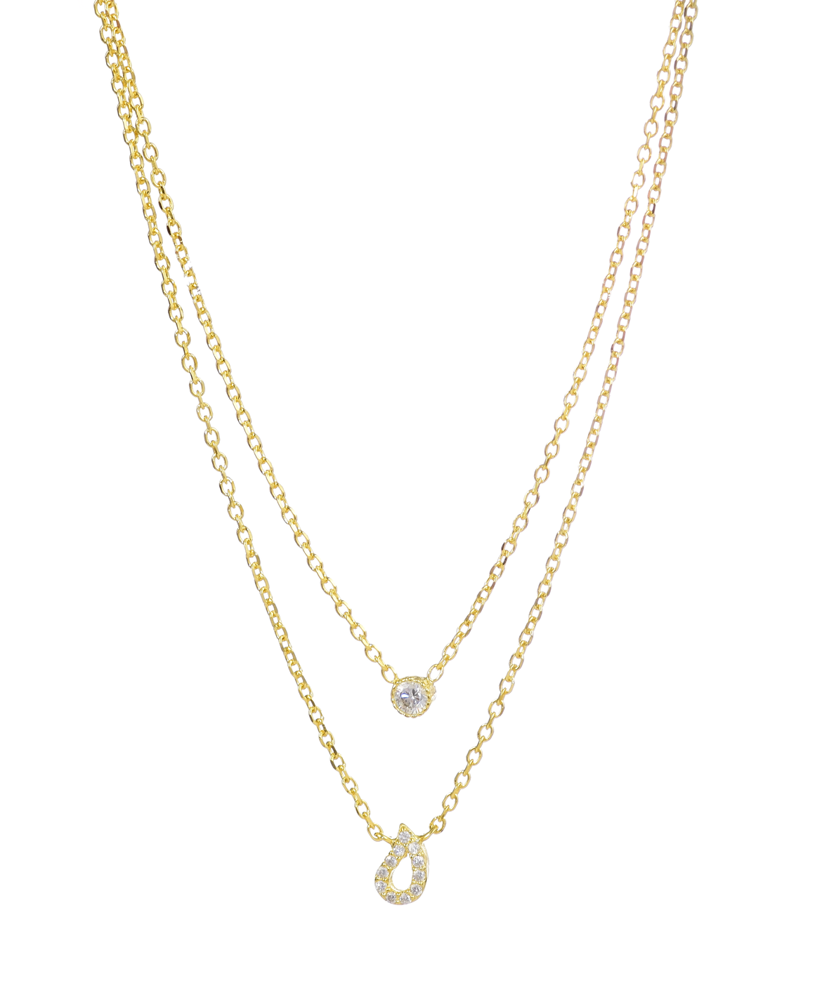 Sterling Silver Gold Plated Layered Necklace with CZ Diamonds - Anny Gabriella NY