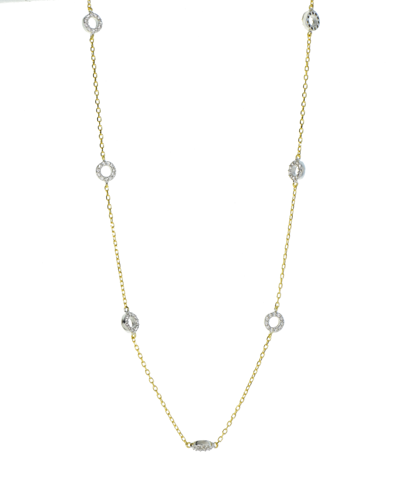 CZ Stones by the Yard Necklace Sterling Silver Gold Plated - Anny Gabriella NY