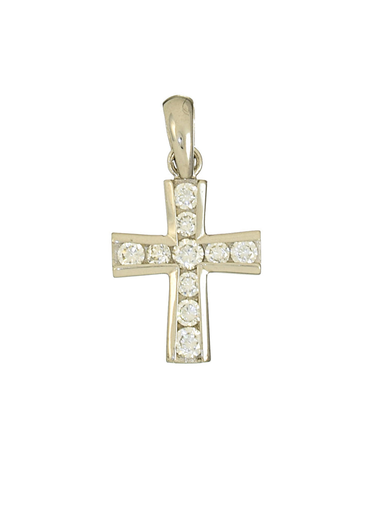 Small Cross Pendant with CZ Stones 14K White Gold - Anny Gabriella NY
