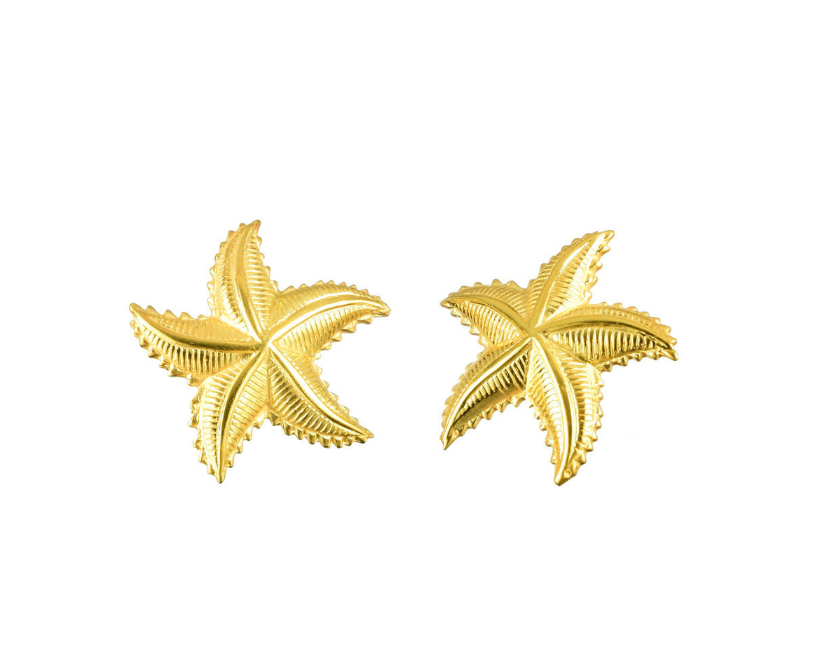 Gold Starfish Earrings 14K Gold Plated - Anny Gabriella NY