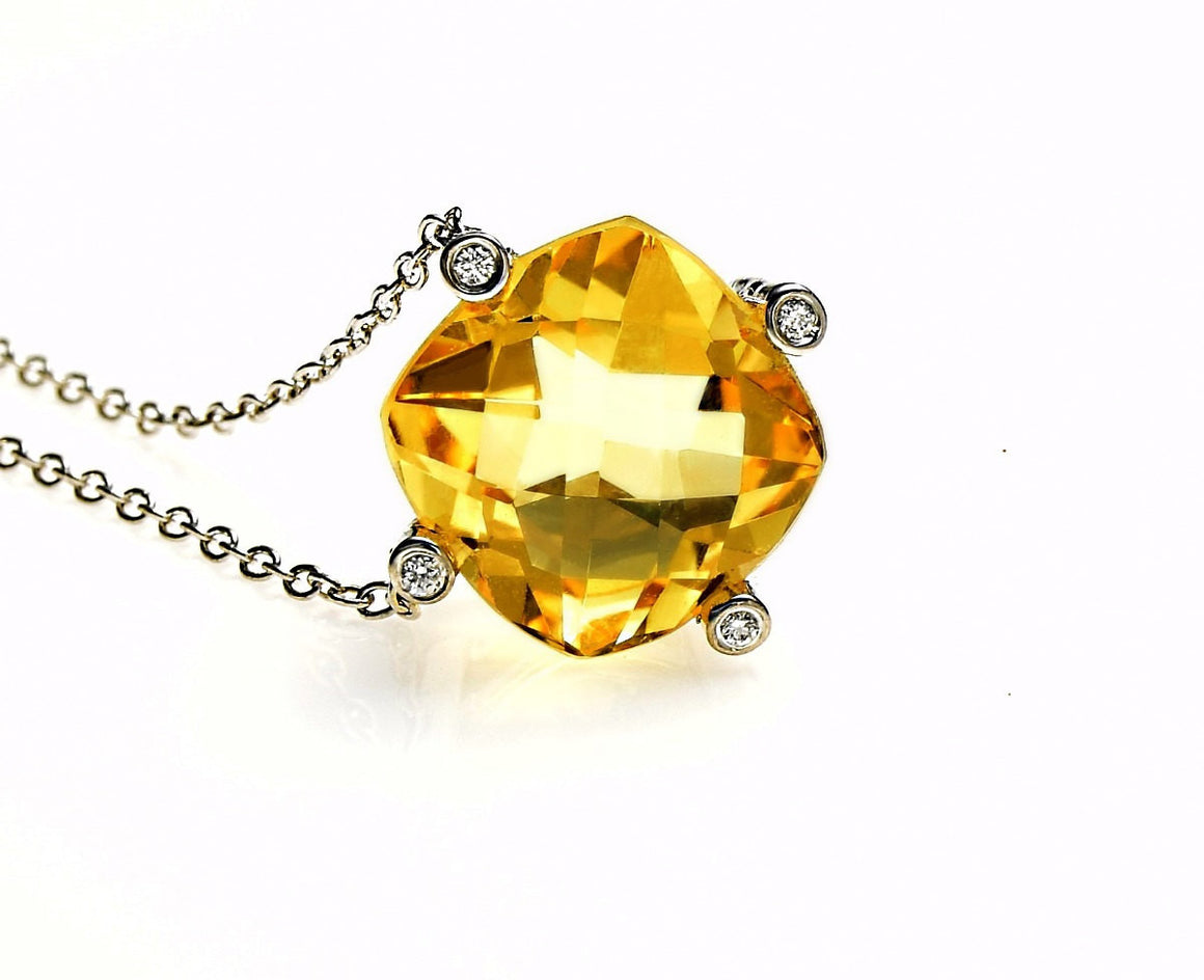 "16"" Citrine Diamond Cushion Cut Pendant Necklace Sterling Silver - Anny Gabriella NY"