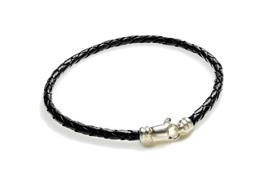 Thin Black Leather Bracelet with Sterling Silver Clasp - Anny Gabriella NY