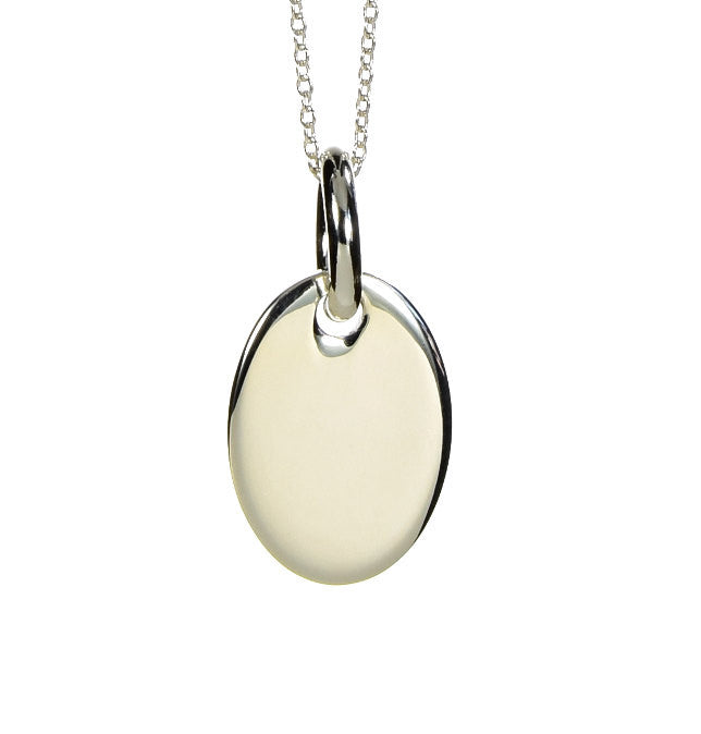 Oval Pendant Necklace Sterling Silver - Anny Gabriella NY