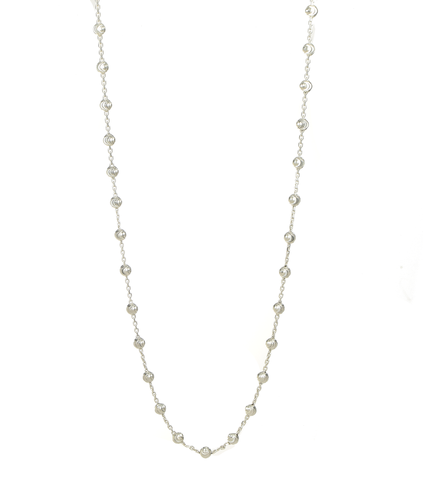 Italian Sterling Silver Moon Cut Bead Necklace - Anny Gabriella NY
