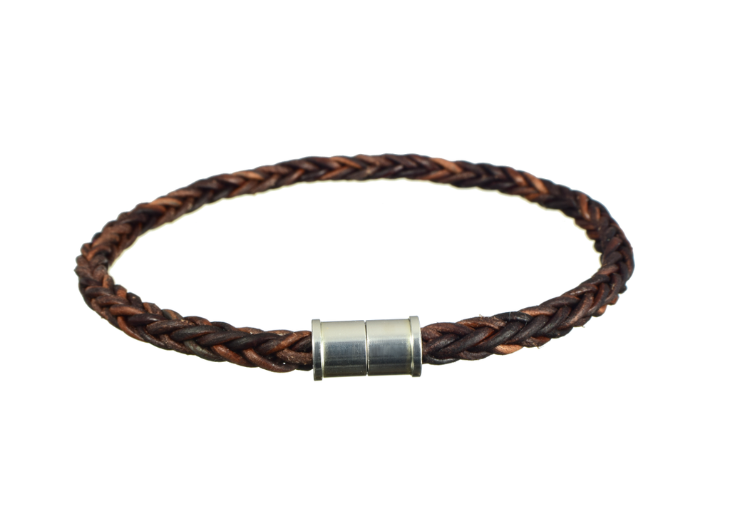 Braided Leather Bracelet with Magnetic Sterling Silver Clasp - Anny Gabriella NY