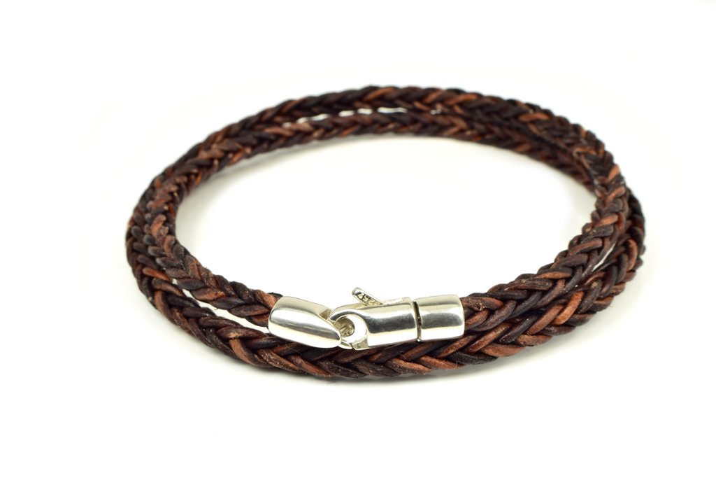 Braided Leather Wrap Bracelet with Sterling Silver Clasp - Anny Gabriella NY