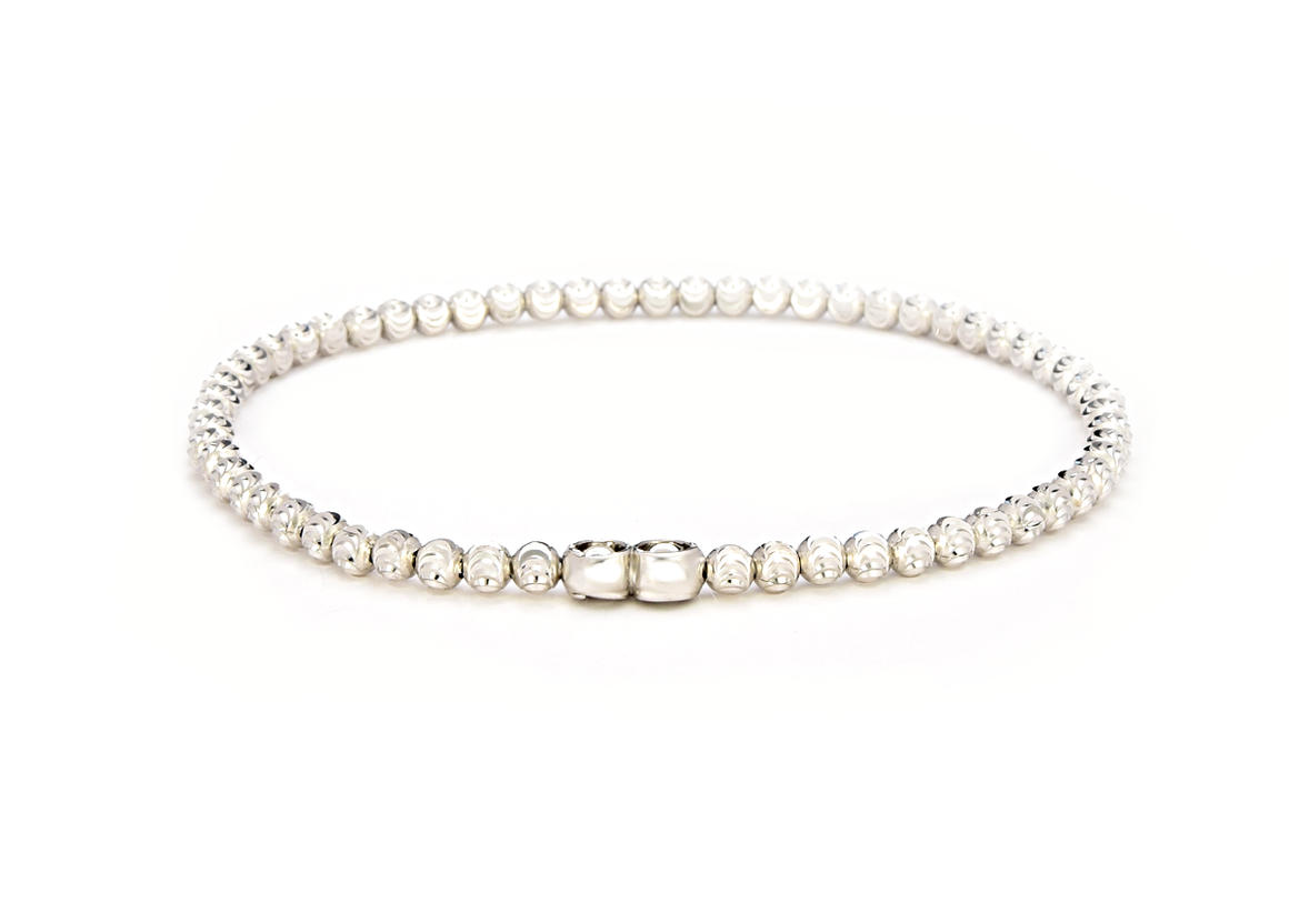 Italian Sterling Silver Moon Diamond Cut Beads Stretchable Bracelet - Anny Gabriella NY