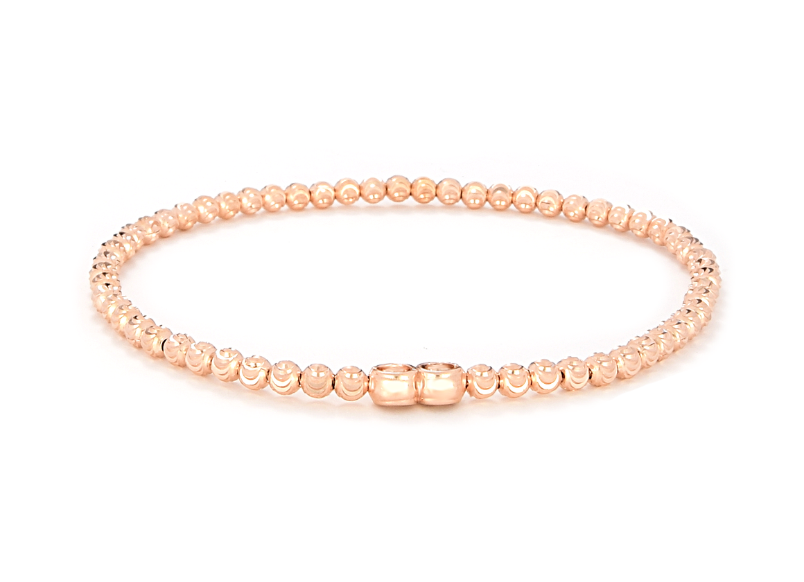Italian Sterling Silver Rose Gold Plated  Moon Diamond Cut Beads Stretchable Bracelet - Anny Gabriella NY