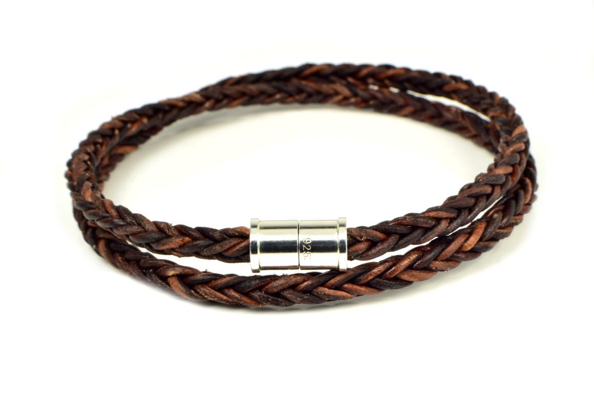 Braided Leather Wrap Bracelet with Magnetic Sterling Silver Clasp - Anny Gabriella NY