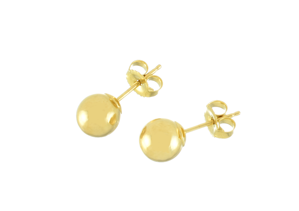 6mm Gold Ball Stud Earrings 14K Gold - Anny Gabriella NY