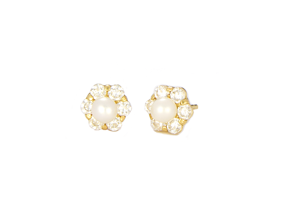 14K Yellow Gold Pearl Stud Earrings with CZ Diamond Frame - Anny Gabriella NY
