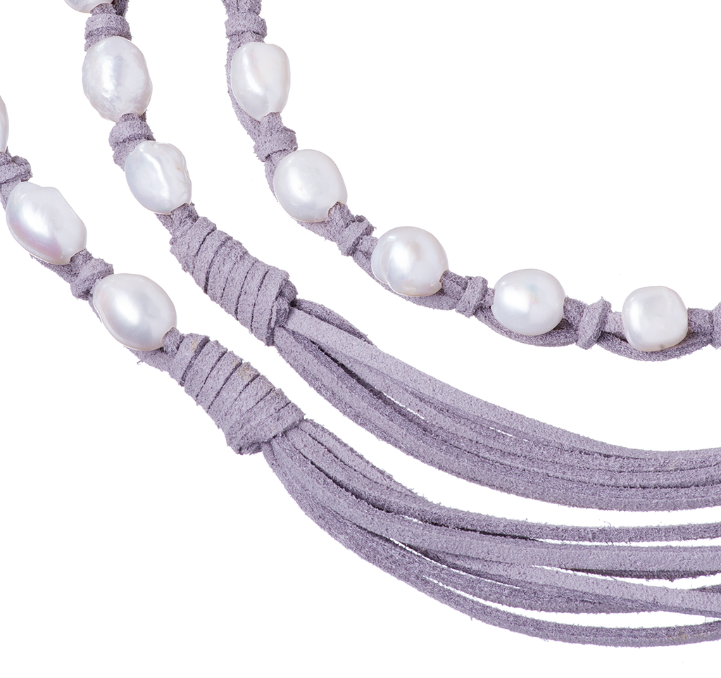 Long Pearl Suede Leather Fringe Necklace Grey