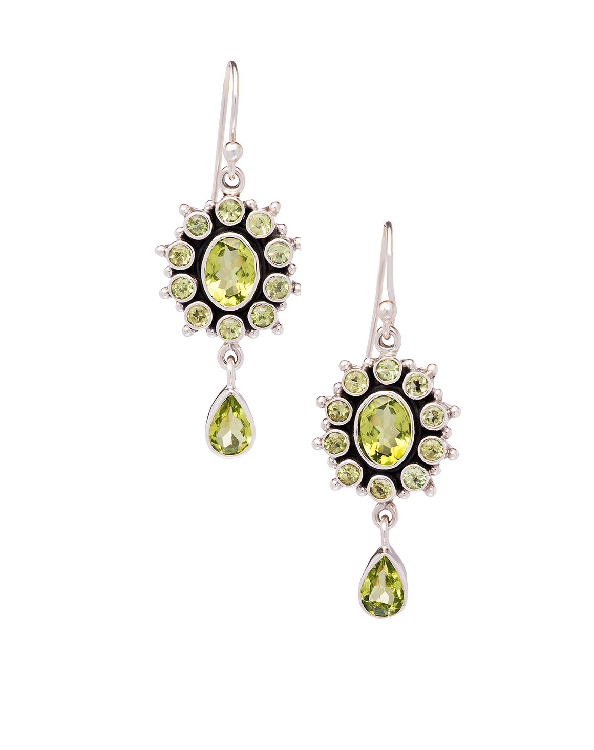 Peridot Drop Earrings in Sterling Silver