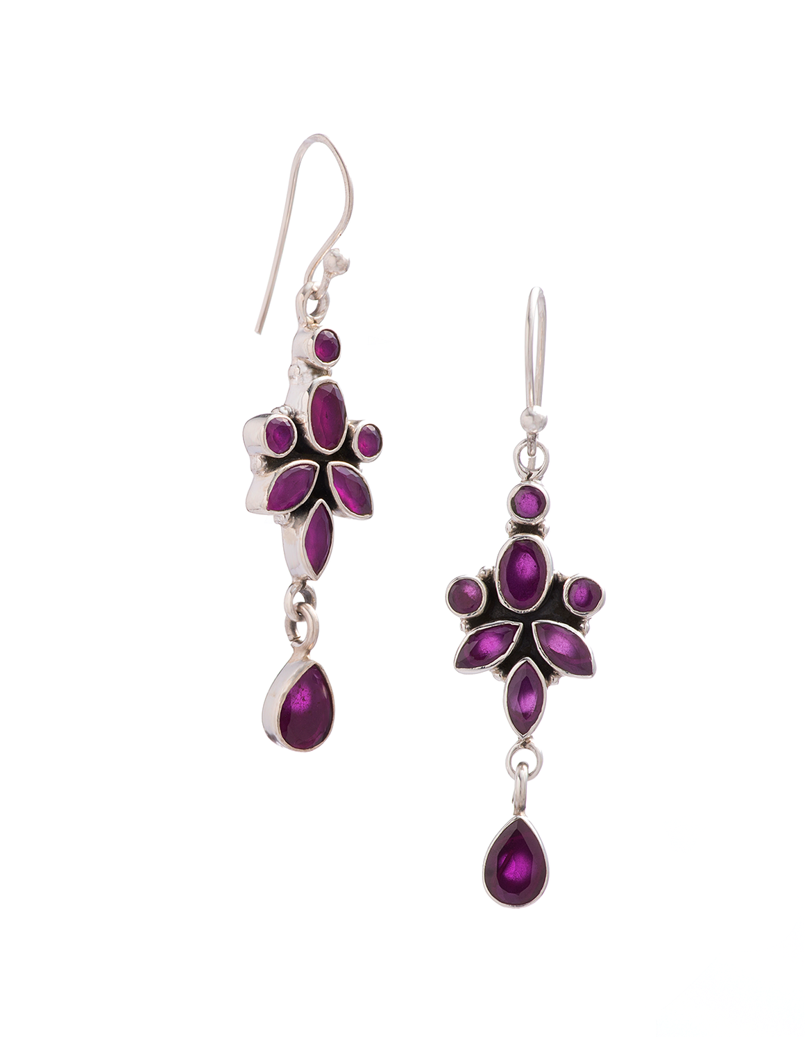 Amethyst Drop Earrings in Sterling Silver