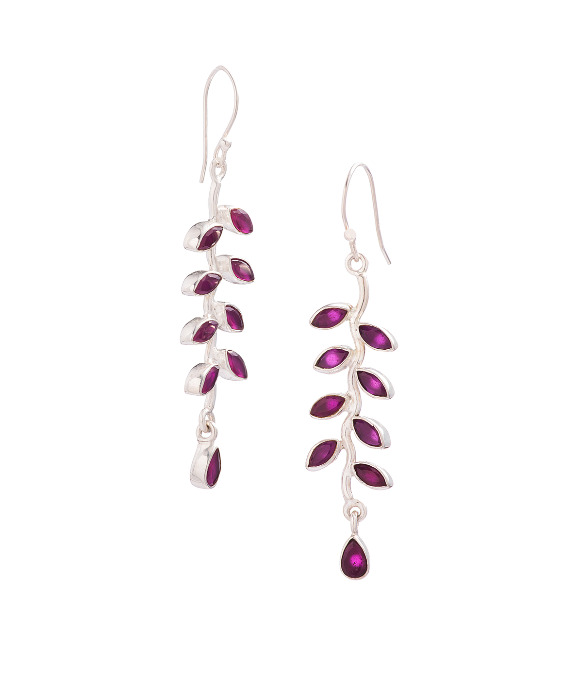 Amethyst Vine Leaf Drop Earrings in Sterling Silver