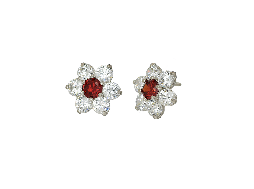 14K White Gold Flower CZ Stone January Birthstone Cluster Earrings - Anny Gabriella NY