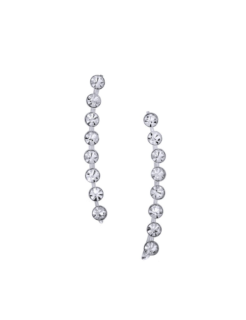 Curved Bar CZ Stones Ear Climber Earrings in Sterling Silver
