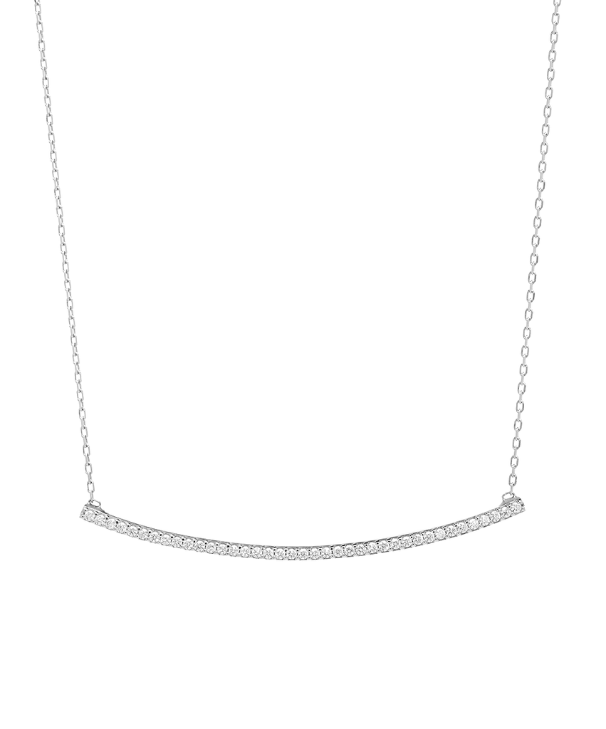 Curved Bar CZ Pendant Necklace in Sterling Silver