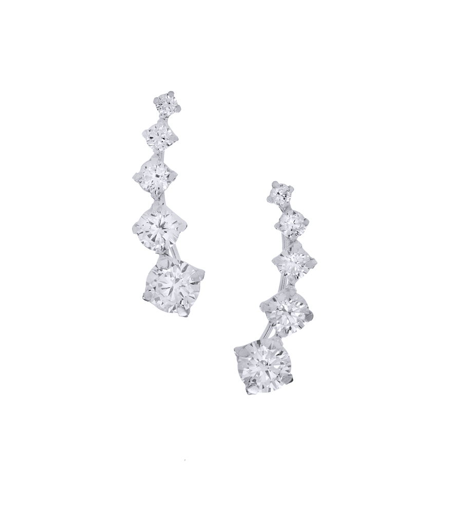 Square CZ Stones Ear Climber Earrings in Sterling Silver