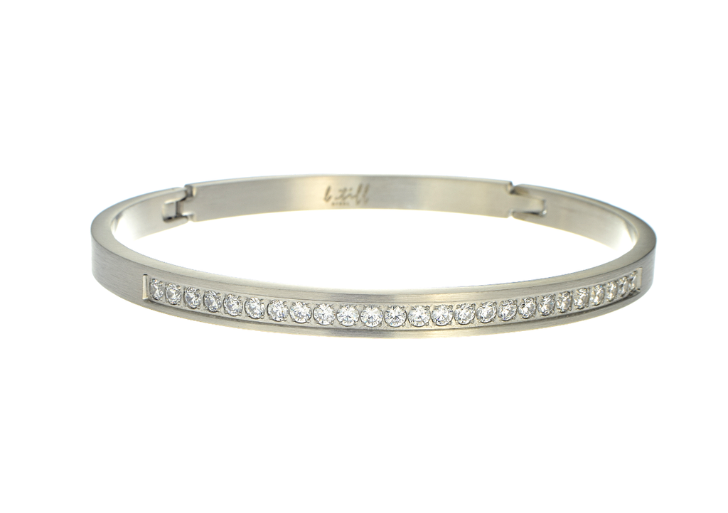 Bangle Bracelet with Cubic Zirconia Stones in Stainless Steel by B.Tiff - Anny Gabriella NY