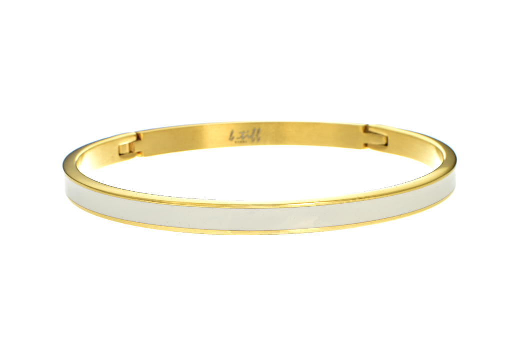 Bangle Bracelet With White Enamel Inset by B.Tiff Gold Plated - Anny Gabriella NY