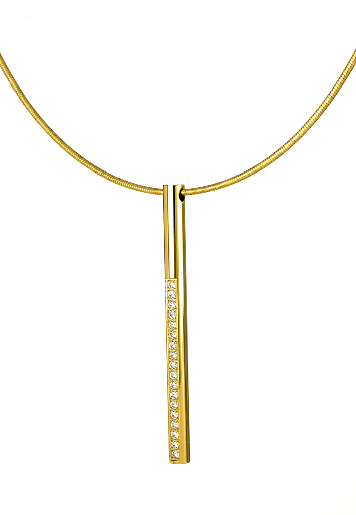 B.Tiff Pavé II Yellow Gold Bar Pendant on Choker Necklace - Anny Gabriella NY