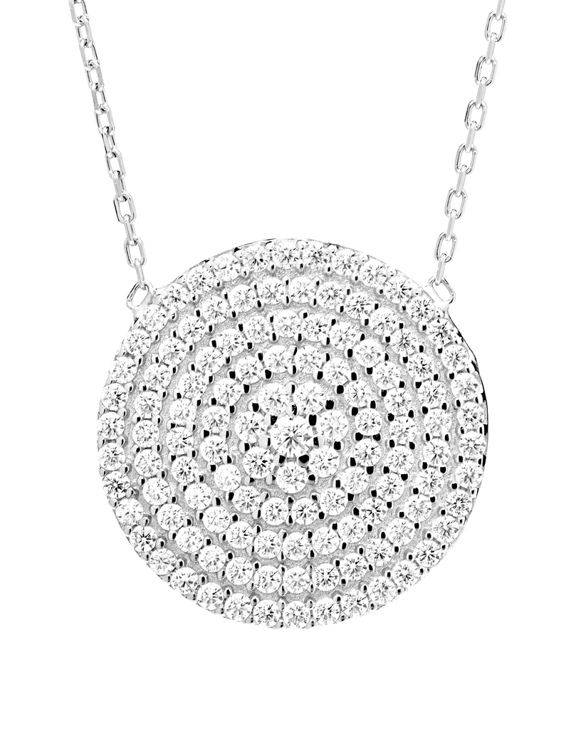 Disc Shape Pendant Necklace with CZ Stones in Sterling Silver - Anny Gabriella NY