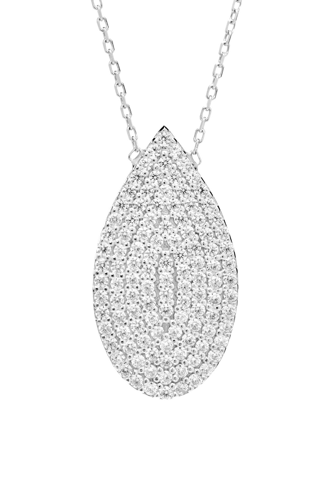 Teardrop Shape Pendant Necklace with CZ Stones in Sterling Silver - Anny Gabriella NY