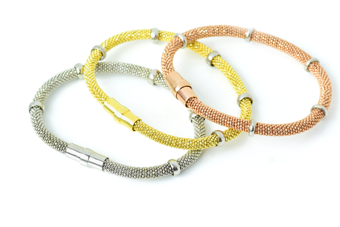 Italian Sterling Silver Gold Plated Faceted Flexible Mesh Bracelet with 5 Rings - Anny Gabriella NY