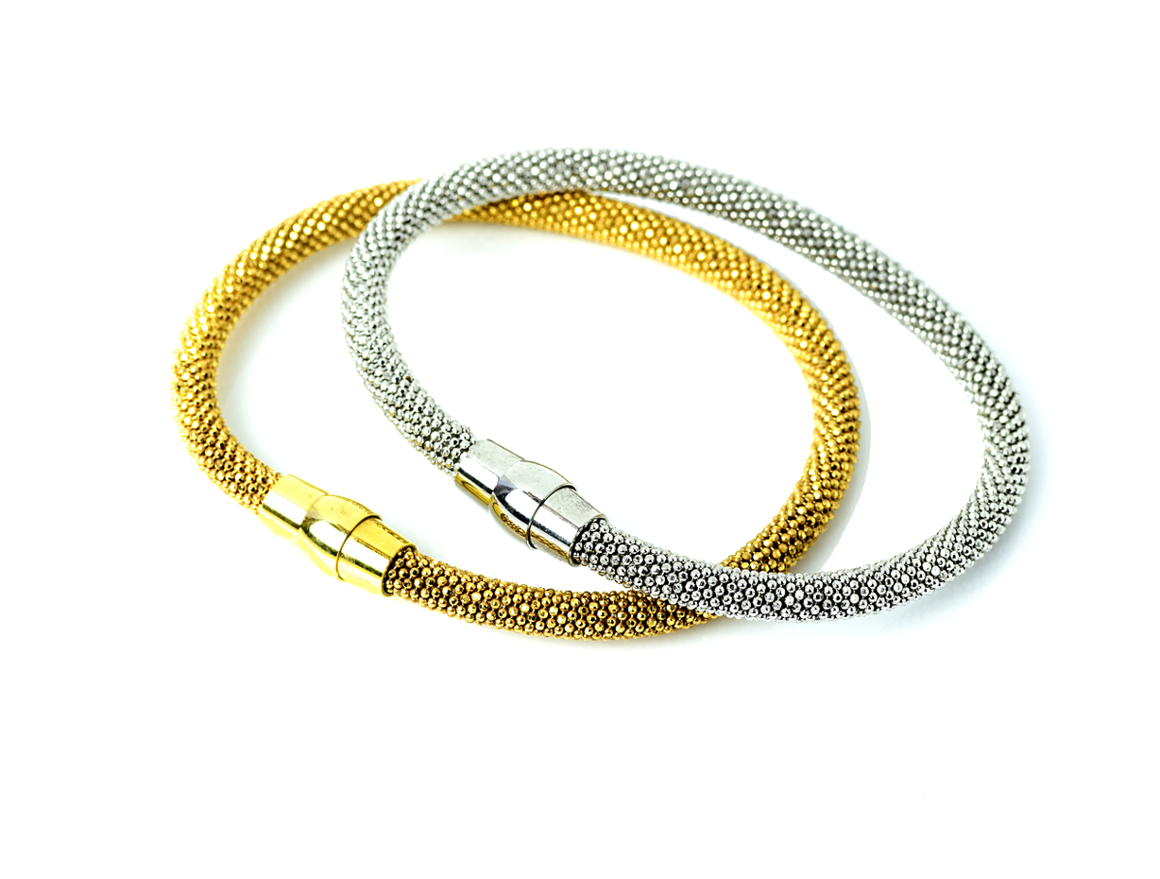 Italian Sterling Silver Gold Plated Faceted Flexible Mesh Bracelet - Anny Gabriella NY