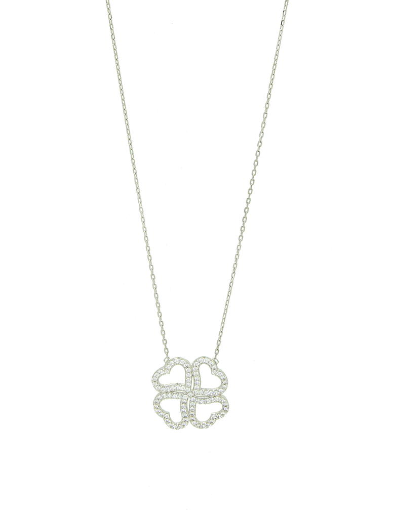 Sterling Silver 4 Heart Clover Necklace with CZ Stones - Anny Gabriella NY