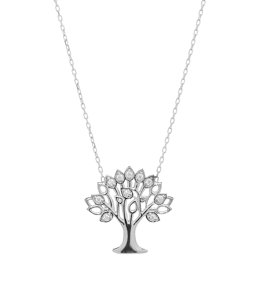 Tree of Life Pendant Necklace with CZ Stones in Sterling Silver