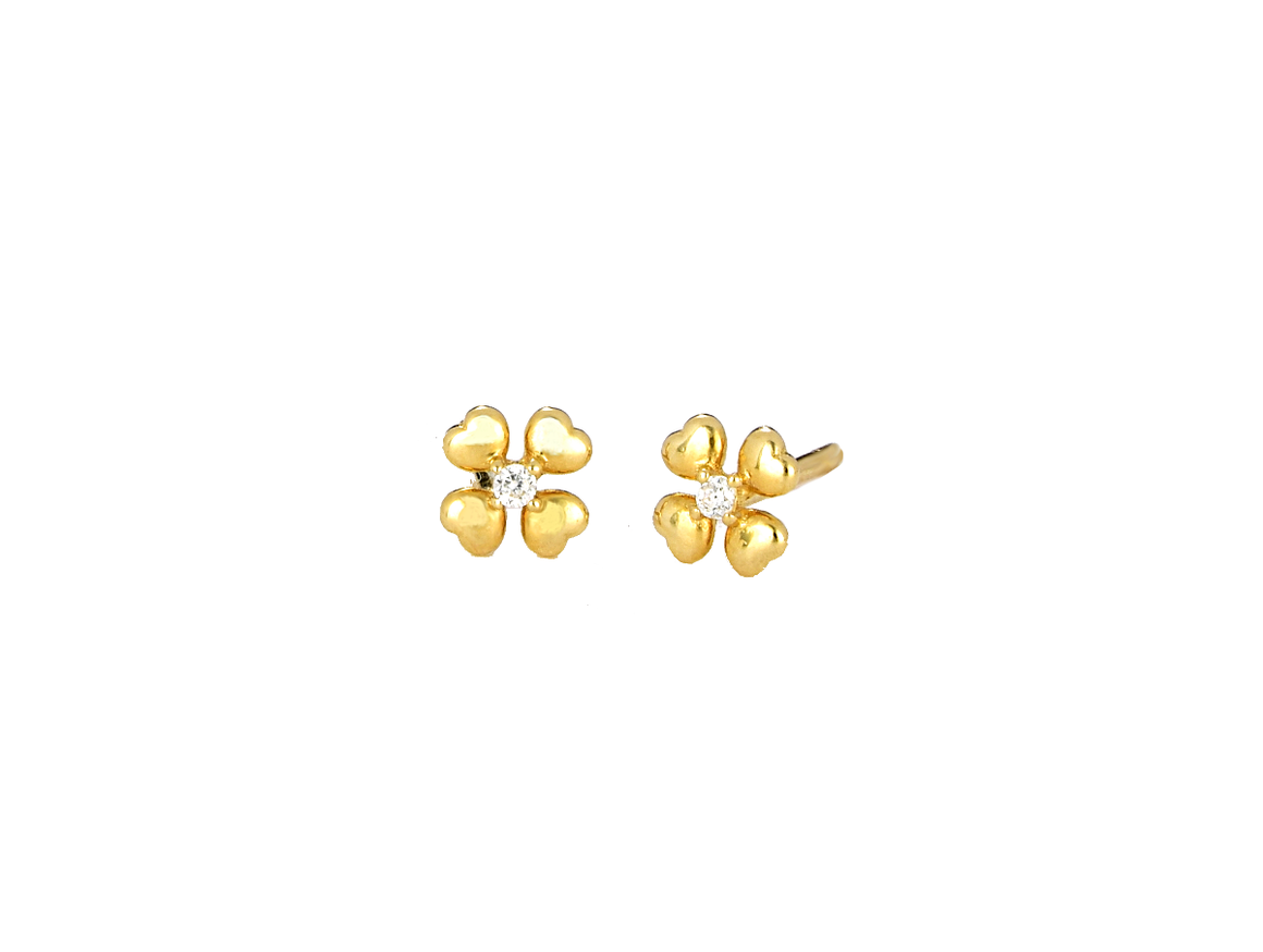 Small Flower Earrings with CZ Stones 14K Gold - Anny Gabriella NY