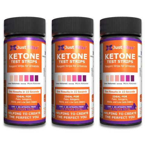 Ketone Test Strips (3 Bottles). 125 strips per bottle (100 + 25 free). Testing Levels of Ketones Suitable for Diabetics, Low Carb, & Fat Burning Dieters.
