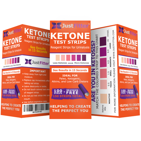 Ketone Test Strips. 150 Strips in 3 Resealable Foil Packs for Testing Levels of Ketones Suitable for Diabetics, Low Carb, & Fat Burning Dieters.