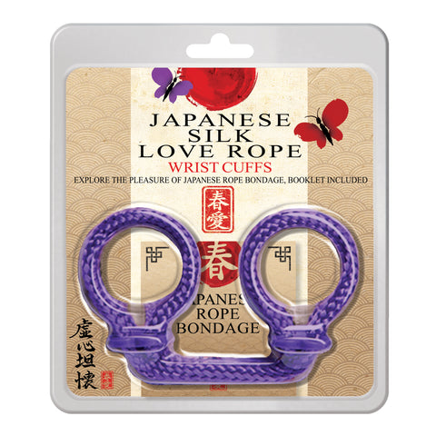 Japanese Silk Love Rope Wrist Cuffs, Purple