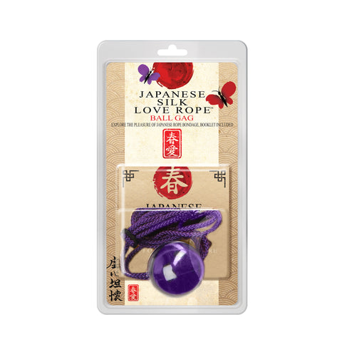 Japanese Silk Love Rope Ball Gag, Purple - Topco Wholesale