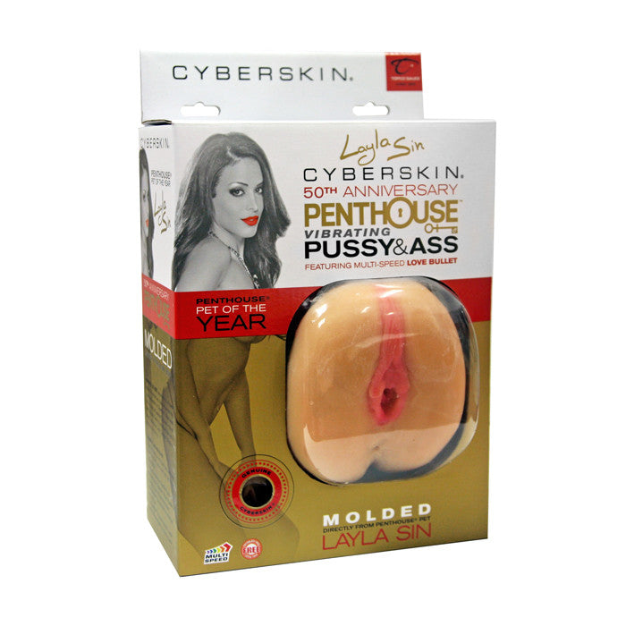 CLOSEOUT-Penthouse Pet Collection Layla Sin Vibrating CyberSkin Pet Pussy & Ass - Topco Wholesale  - 1