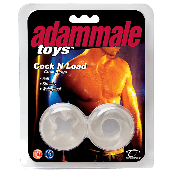 Adam Male Toys Cock N Load Cock Rings, Clear - Topco Wholesale