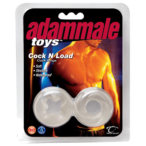 AdamMale® Toys™ Cock N Load Cock Rings, Clear - Topco Wholesale