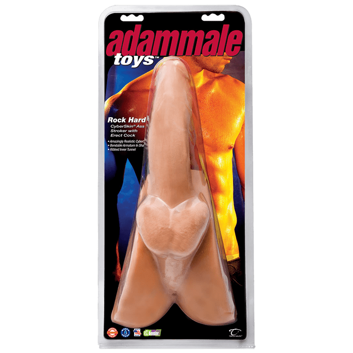 AdamMale® Toys™ Rock Hard CyberSkin Ass Stroker with Erect Cock - Topco Wholesale