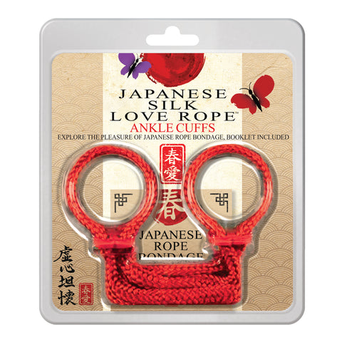 Japanese Silk Love Rope Ankle Cuffs, Red - Topco Wholesale