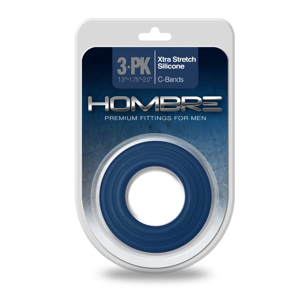 Hombre Xtra Stretch Silicone C-Bands, 3 Pk, Navy - Topco Wholesale