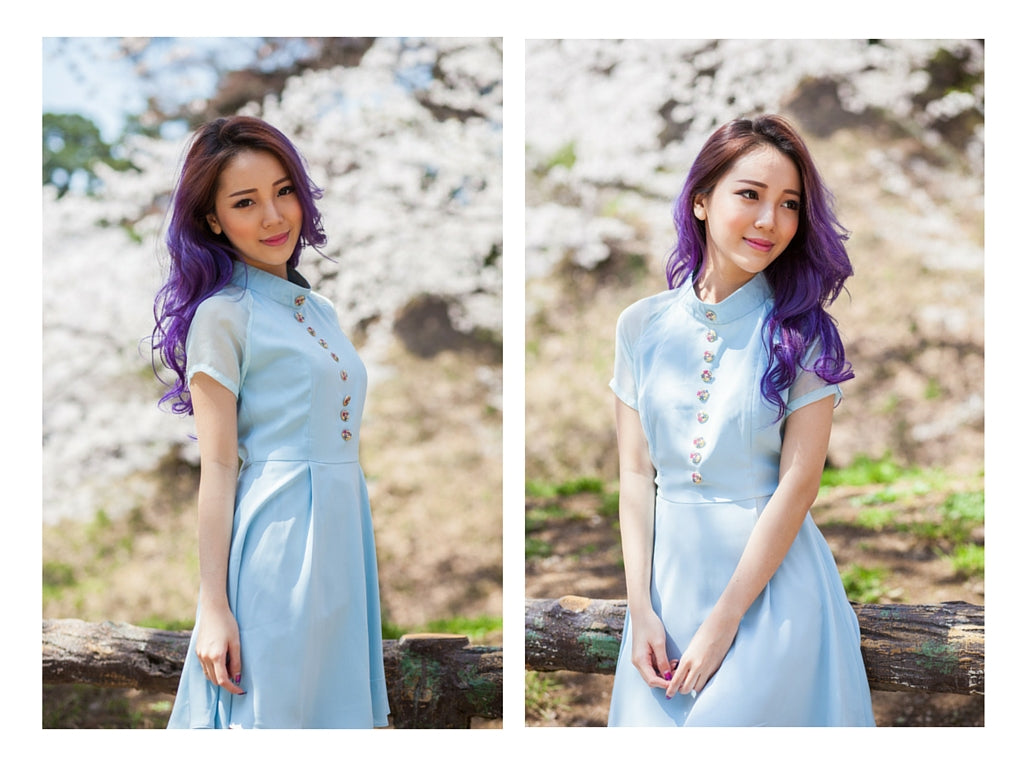 pastel blue dress, innocent blue, sweet elegance